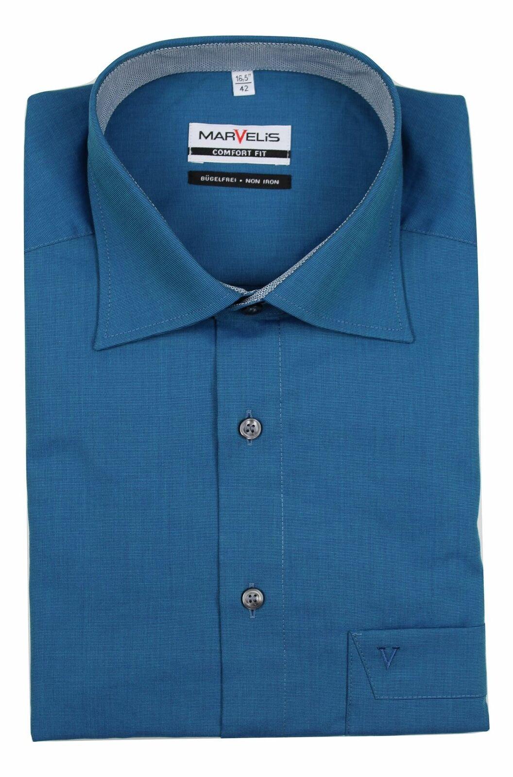 Petrol Blue Textured Spread Collar