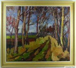 Impressionismus-Birkenallee-Ol-auf-Hartfaserplatte-1950-signiert