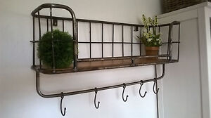 Details zu HOME KONTOR Loft Fabrik Regal 5 Haken Metall Landhaus 75x32x24cm  Küche Top Neu
