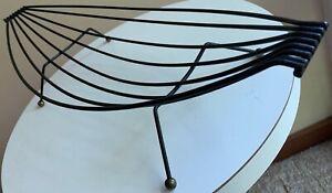 Vintage-50s-60s-Wire-Basket-Catchall-Mid-Century-Modern-MCM-Metal-Black-Gold