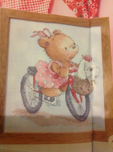 ADORABLE TEDDY BEAR CYCLING WITH PUPPY DOG PAL IN BASKET CROSS STITCH CHART