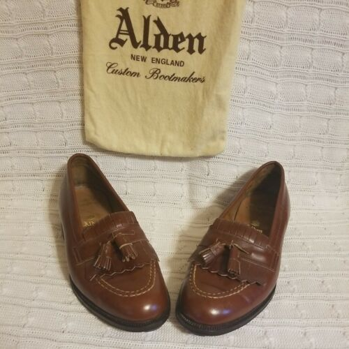 ALDEN Solid Brown Leather Mens Tassel Loafer Dress