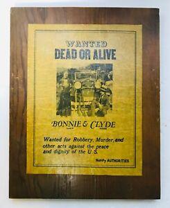 WANTED-DOA-BONNIE-amp-CLYDE-PARCHMENT-PAPER-ON-WOOD-PLAQUE-14-1-2-034-X-11-1-2-034