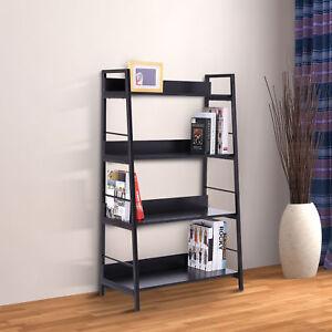 HOMCOM-Bookshelf-Wooden-Leaning-ladder-Shelves-Rack-4-Tiers-Storage