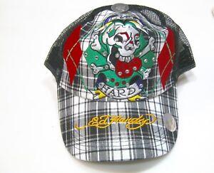 f2405bff7e2 Ed Hardy Trucker Hat Cap Snapback Adjustable Skull Black Plaid Mesh ...