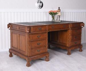 Bureau bureau acajou table de bureau chef bureau bois massif style