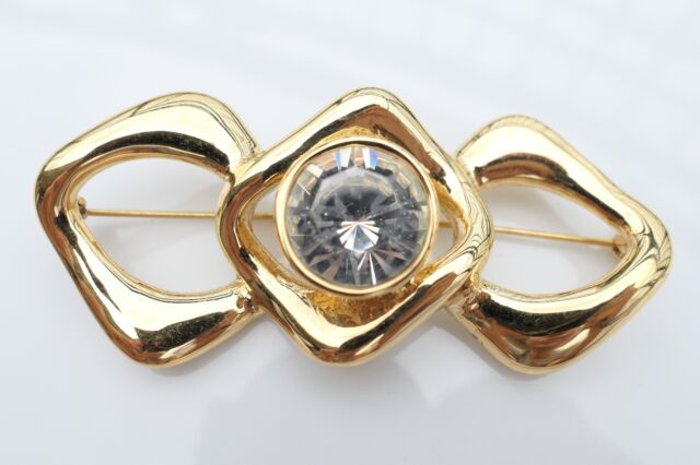 e5e400ad0ee AUTHENTIC YSL YVES SAINT LAURENT VINTAGE GOLD TONED BROOCH PIN SWAROVSKI  CRYSTAL