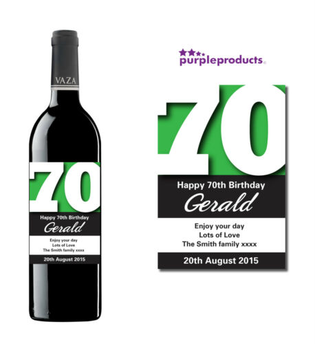 champagne ou cidre bière Personnalisé 70e anniversaire de vin étiquette du flacon