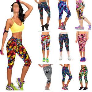 Womens-Gym-Leggings-Yoga-Ladies-Active-Running-Fitness-Exercise-3-4-Capri-Pants