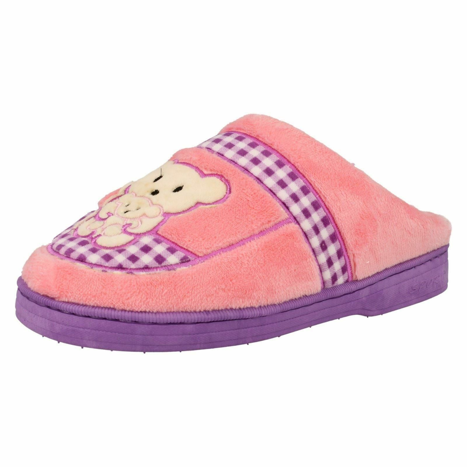 Spot On Ihana Ladies Pink Teddy Bear Character Novelty Mule Slippers