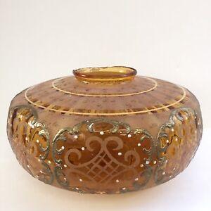 Vintage-Hanging-Lamp-Hollywood-Regency-Embellished-Globe-Amber-amp-Gold