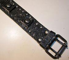 VTG NOS 70's Wide Black Ostrich Grain Leather Biker Watch Band