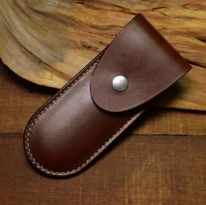 Navaja Plegable vaina de cuchillo vaina Bolso De La Cintura Cuero Vaca personalizar Marrón Z1012