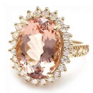 10-00-Carati-Naturale-Morganite-e-Diamante-14K-Solido-Oro-Giallo-Anello