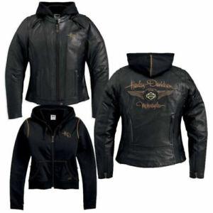 Harley-Davidson-Womens-110th-Anniversary-Black-Leather-Jacket-1W-97148-13VW-Rare