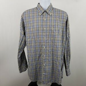 Peter-Millar-Mens-Blue-Brown-Tattershall-Check-L-S-Dress-Button-Shirt-Sz-Large-L