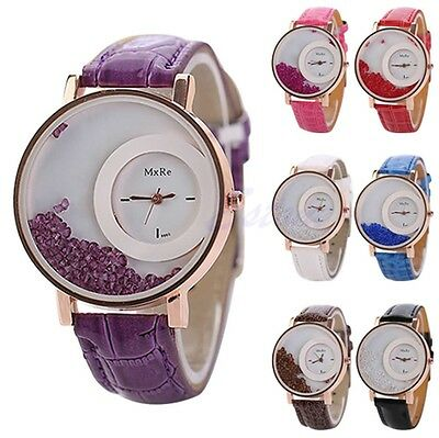 Fashion Women Quicksand Faux Leather Band Bracelet Round Dial Analog Wrist Watch