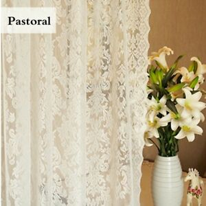 Baroque-Lace-Voile-Curtain-Panel-Floral-Net-Window-Drape-Divider-White-Pastoral