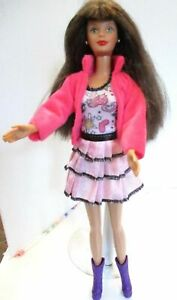 Barbie-doll-brown-long-hair-Pink-skirt-amp-top-amp-pink-coat-amp-Purple-boots