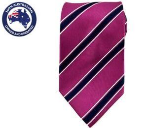Men-039-s-Necktie-8-5CM-Magenta-Stripes-Neck-Tie-Wedding-Striped-Groomsmen-Mens-Ties