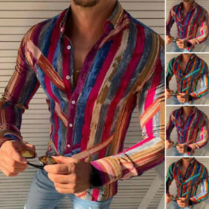 Men-039-s-Floral-Slim-Fit-Shirt-Long-Sleeve-Formal-Party-Casual-Tops-T-Shirts-Blouse