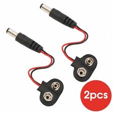 2Pcs 2.1x5.5mm DC Power Plug to 9V CCTV Camera Battery Clip Button Adapter lot