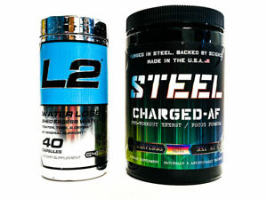 Steel-Supplements-CHARGED-AF-Candy-Bliss-Cellucor-L2-WATER-LOSS-COMBO-SALE