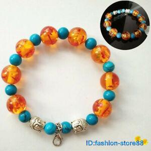 New-Tibetan-Silver-Turquoise-Bead-Bracelet-Buddha-head-Bangle-L1801