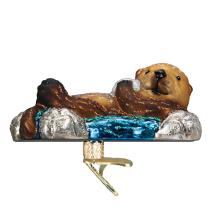 Old-World-Christmas-FLOATING-SEA-OTTER-12506-N-Glass-Ornament-w-OWC-Box