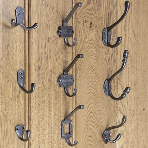 4 BROWN DOUBLE COAT HALL SEAT HOOKS HANGERS ANTIQUE-STYLE RUSTIC CAST IRON hat