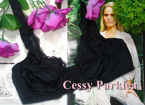 """Euro /""""bpc/"""" Black Non-padded Stretchy Lace Satin Cups Wired Full Coverage Bras"""