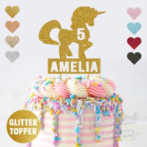 Remarkable Personalised Custom Glitter Cake Topper Unicorn Girls Childrens Funny Birthday Cards Online Alyptdamsfinfo