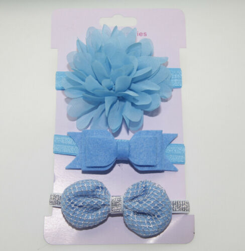3pcs Kid Girl Baby Toddler Bow Headband Hair Band Accessories DSUK