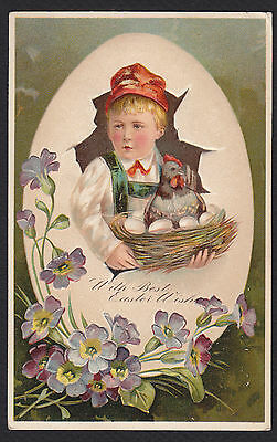 Easter-PFB-Child-Rooster-Nest-Flowers-Embossed Antique Postcard