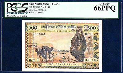 Africa Amiable West African States Togo 500 Francs Pick 802tm 1959-1961 Pcgs 66 Gem New Ppq
