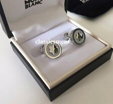 Montblanc Creative Stainless Steel Emblem Onyx Inlay RD Cuff Link