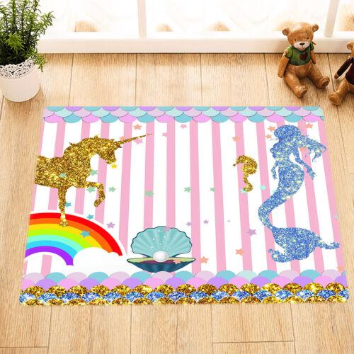 Golden Unicorn Seahorse Conch Blue Mermaid Shower Curtain Set Waterproof Fabric