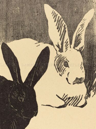 HENRI CHARLES GUARARD FRENCH RABBITS LES LAPINS OLD ART PAINTING POSTER BB5607A