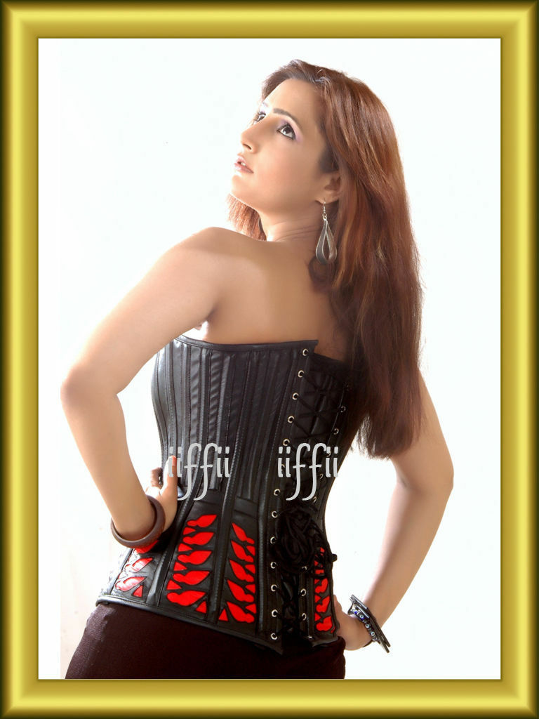 Real Leather Full breast corsage corset leather 34,36,38,40, up to 56