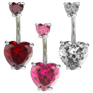 Details About 14g Stainless Steel Belly Ring Button Navel Body Piercing With Dangle Cz Heart