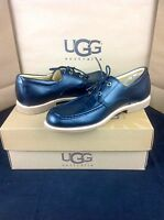 Ugg Australia Via Pitti Black Leather Sheepskin Loafers Mens Shoes Size 9 Us