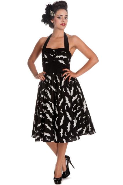 Hell Bunny Black White Bat Gothic Rockabilly Halloween 50s Dress XS-L