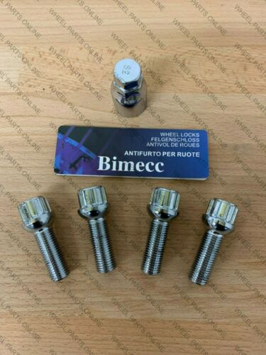 ALLOY WHEEL LOCKING BOLTS 35mm THREAD RADIUS BIMECC M14X1.5 FIT AUDI A5 A6 A7 A8