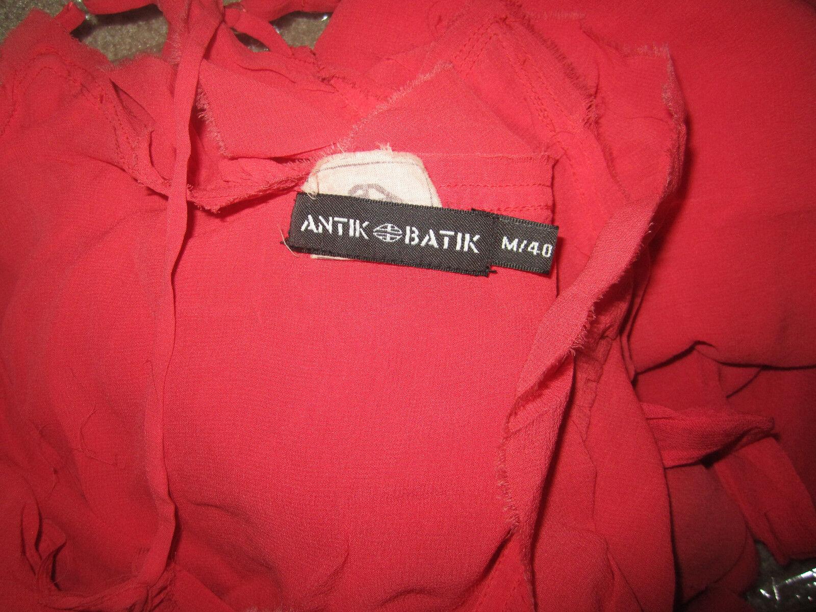 ANTIK BATIK BATIK BATIK CORAL SILK RUFFLE FAUX WRAP SUMMERY DRESS MEDIUM M 8ed414