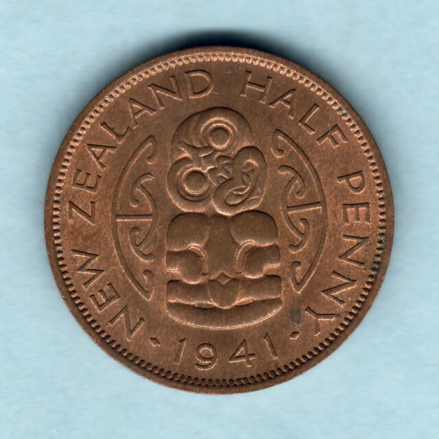 New Zealand. 1941 Halfpenny..  Near Full Lustre..  aU/UNC