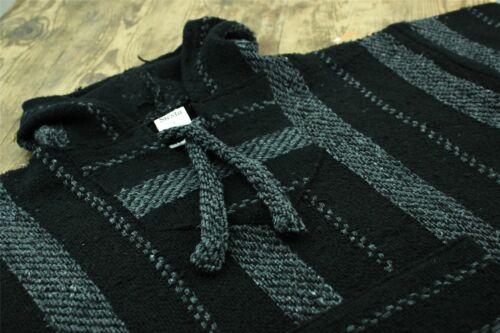 Mexican Baja Jerga Hoody Siesta Hoody Surf Hippy  Drug Rug Jumper Black Grey
