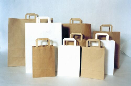 Papiertaschen braun 320+130x410 mm Tüten 90g C10506 300 Stück Tragetaschen