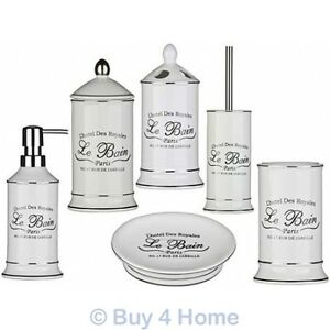 Image Is Loading Le Bain Ceramic White Bathroom Accessories Shabby Traditional