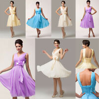 Short Bridesmaid Wedding Prom Cocktail Evening Party Dress Plus Size 20 22 24 26