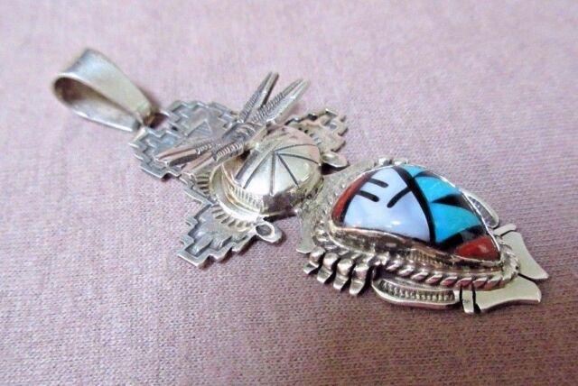 Navajo Multi-stone & Sterling Tableta Kachina Pendant by Bennie Ration JP0121